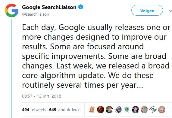 Google algorimte update 12 maart