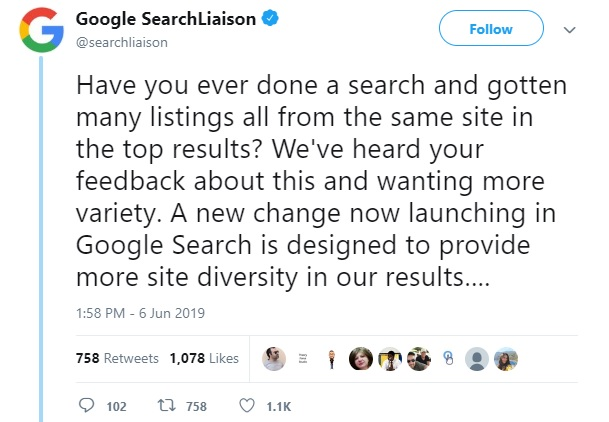 Google diversity update tweet